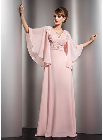 A-Line/Princess V-neck Floor-Length Mother of the Bride Dresses With Ruffle Beading