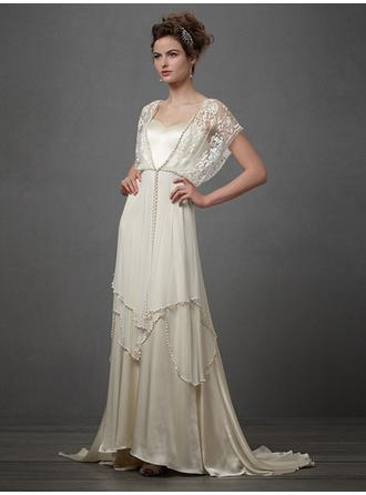 A-Line/Princess Square Sweep Train Wedding Dresses With Lace Cascading Ruffles