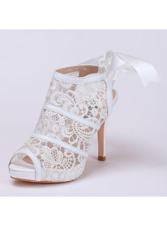 Naisten Pitsi Piikkikorko Kengät Peep toe Beach Wedding Shoes