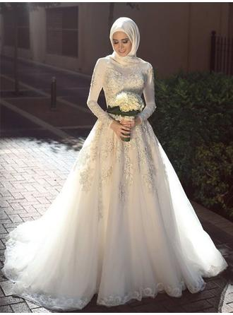 Scoop A-Line/Princess Wedding Dresses Tulle Appliques Lace Long Sleeves Sweep Train