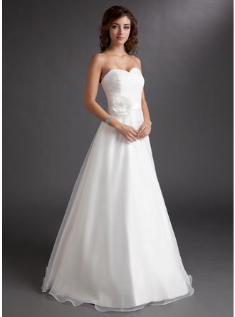 Satin Organza A-Line/Princess Floor-Length Sweetheart Wedding Dresses