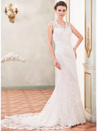 Princess Chapel Train Trumpet/Mermaid Wedding Dresses Sweetheart Lace Sleeveless
