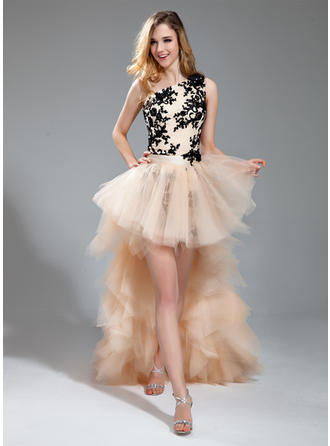 Sheath/Column One-Shoulder Asymmetrical Detachable Prom Dresses With Embroidered Beading Appliques Lace Cascading Ruffles