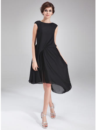A-Line/Princess Scoop Neck Chiffon Sleeveless Asymmetrical Ruffle Beading Cocktail Dresses