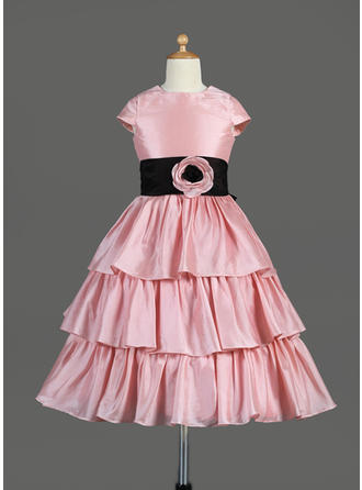 Elegant Tea-length A-Line/Princess Flower Girl Dresses Scoop Neck Taffeta Sleeveless (010014645)