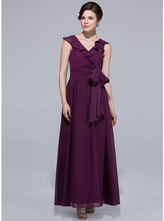 Chiffon Sleeveless A-Line/Princess Bridesmaid Dresses V-neck Bow(s) Cascading Ruffles Ankle-Length