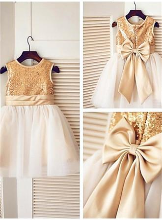 Scoop Neck A-Line/Princess Flower Girl Dresses Tulle/Sequined Sash/Bow(s) Sleeveless Knee-length