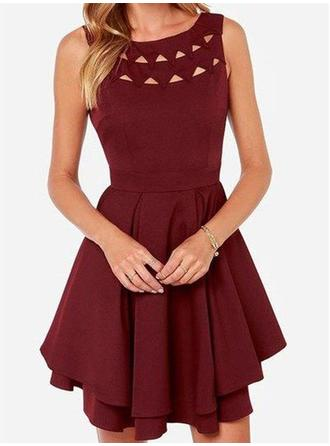 A-Line/Princess Scoop Neck Jersey Sleeveless Short/Mini Ruffle Homecoming Dresses