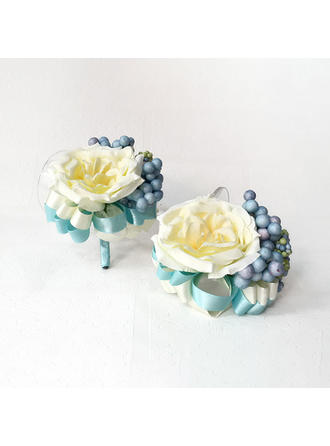 "Wrist Corsage/Boutonniere Free-Form Wedding Silk linen 2.36""(Approx.6cm)~2.76""(Approx.7cm) Wedding Flowers"