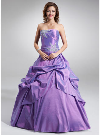 Ball-Gown Strapless Floor-Length Taffeta Prom Dress With Ruffle Beading Appliques Lace Sequins
