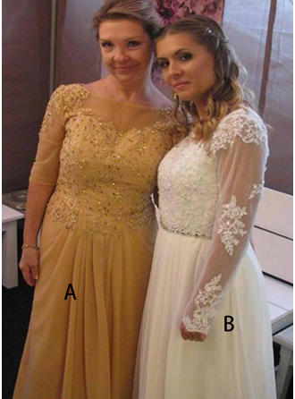Chiffon 1/2 Sleeves Mother of the Bride Dresses Scoop Neck Ruffle Appliques Lace Floor-Length