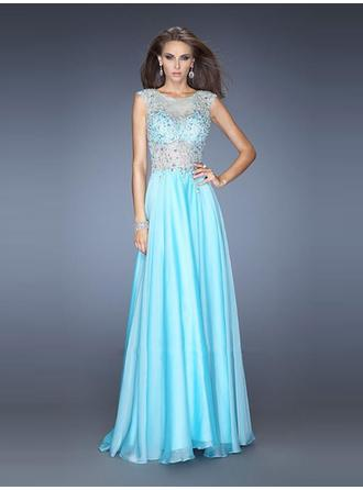 A-Line/Princess Scoop Neck Sweep Train Evening Dresses With Beading