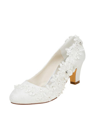 Women's Pumps Chunky Heel Silk Like Satin With Stitching Lace Flower Crystal Pearl Wedding Shoes