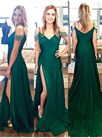 A-Line/Princess V-neck Sweep Train Evening Dress With Beading Split Front