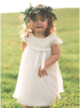 A-Line/Princess Scoop Neck Tea-length Chiffon/Lace Sleeveless Flower Girl Dress (010210938)