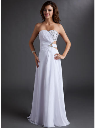 A-Line/Princess Strapless Chiffon Sleeveless Floor-Length Ruffle Beading Evening Dresses
