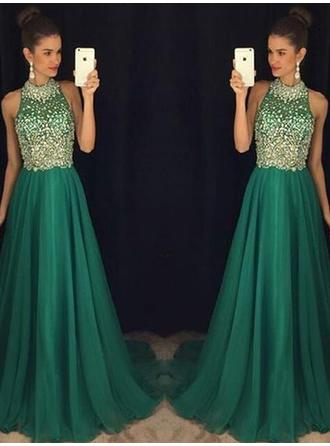 A-Line/Princess Halter Floor-Length Chiffon Evening Dresses With Beading