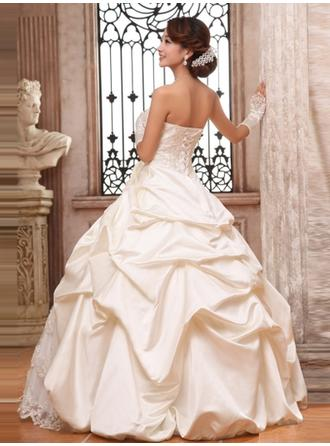Ball-Gown Strapless Floor-Length Wedding Dress With Lace Beading Appliques Lace