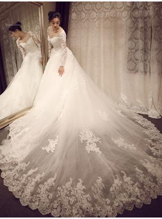 Ball-Gown Sweetheart Royal Train Wedding Dress With Appliques Lace