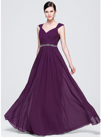 A-Line/Princess V-neck Floor-Length Chiffon Prom Dresses With Ruffle Lace Beading Sequins