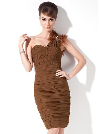 Sheath/Column One-Shoulder Knee-Length Chiffon Cocktail Dress With Ruffle Beading Feather