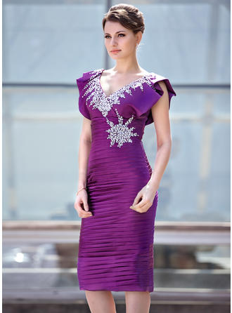 Charmeuse Sleeveless Mother of the Bride Dresses V-neck Sheath/Column Ruffle Beading Sequins Cascading Ruffles Knee-Length