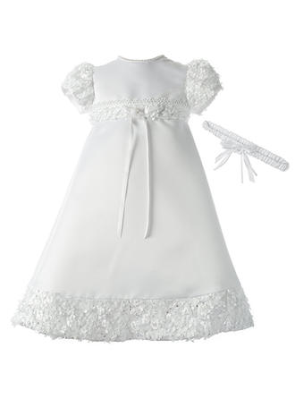 Satin Scoop Neck Lace Beading Baby Girl's Christening Gowns With Short Sleeves
