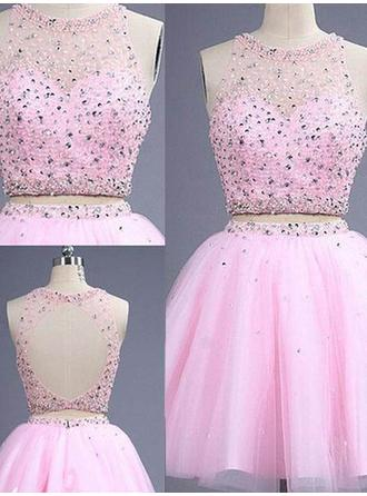 A-Line/Princess Short/Mini Detachable Homecoming Dresses Scoop Neck Tulle Sleeveless