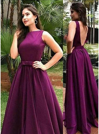 A-Line/Princess Sweep Train Prom Dresses Scoop Neck Charmeuse Sleeveless