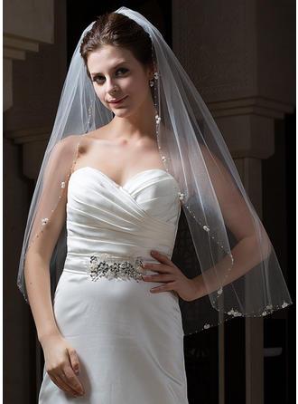Vingertop Bruids Sluiers Tule Een-rij Ovaal met Gerolde Rand Huwelijkssluiers