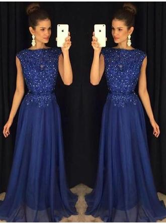 Sash Beading Appliques Scoop Neck With A-Line/Princess Chiffon Evening Dresses