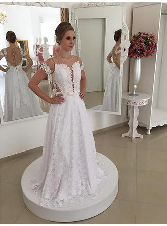 A-Line/Princess Scoop Sweep Train Wedding Dress With Sash Beading Bow(s)