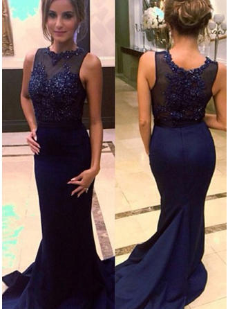 Satin Sleeveless Trumpet/Mermaid Prom Dresses Scoop Neck Beading Court Train