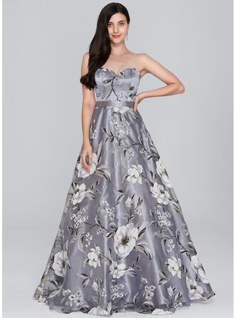 A-Line/Princess Sweetheart Floor-Length Organza Prom Dresses