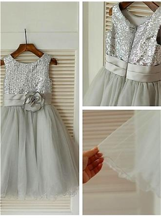 Flattering Tea-length A-Line/Princess Flower Girl Dresses Scoop Neck Tulle/Sequined Sleeveless