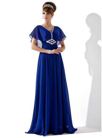 A-Line/Princess V-neck Chiffon Short Sleeves Floor-Length Ruffle Beading Evening Dresses
