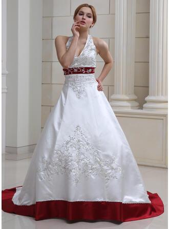 De baile Cabresto Cauda de sereia Cetim Vestido de noiva com Bordados Beading lantejoulas