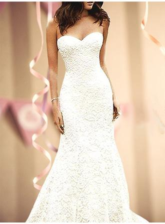 2019 New Sweep Train Trumpet/Mermaid Wedding Dresses Sweetheart Lace Sleeveless