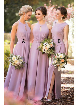 A-Line/Princess Scoop Neck Floor-Length Jersey Bridesmaid Dress With Ruffle Split Front
