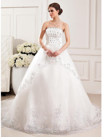 Sexy Cathedral Train Ball-Gown Wedding Dresses Strapless Tulle Sleeveless