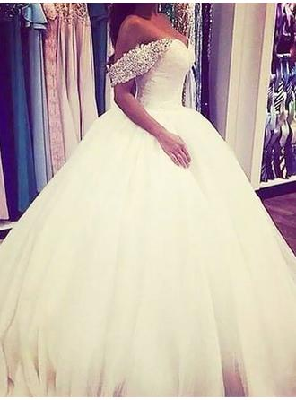 Ball-Gown Off-The-Shoulder Sweep Train Wedding Dress With Lace Beading