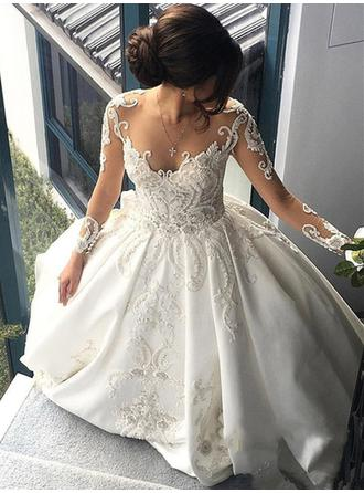 Chic Beading Appliques Sequins Ball-Gown With Satin Wedding Dresses