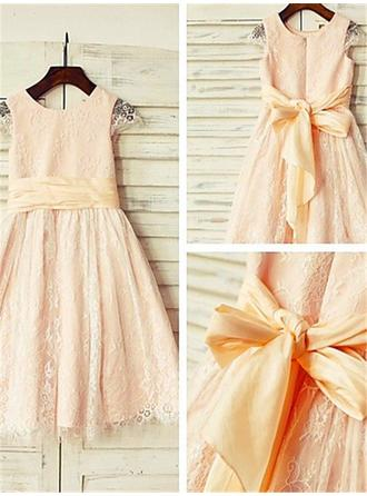 Gorgeous Tea-length A-Line/Princess Flower Girl Dresses Scoop Neck Lace Sleeveless