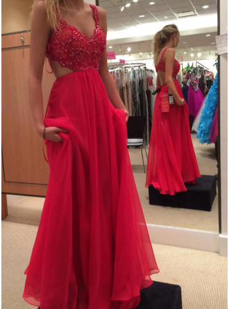 A-Line/Princess Chiffon Prom Dresses Lace V-neck Sleeveless Sweep Train