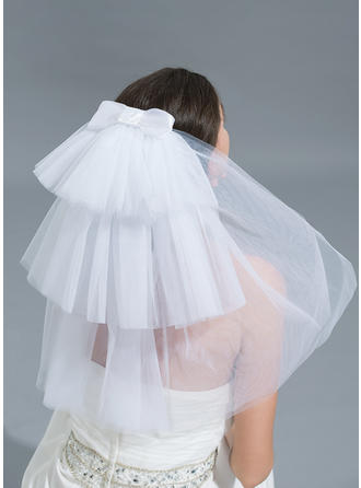Three-tier Cut Edge Shoulder Veils With Satin Bow