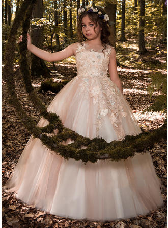 Ball Gown Scoop Neck Floor-length With Beading/Flower(s) Tulle/Lace Flower Girl Dresses