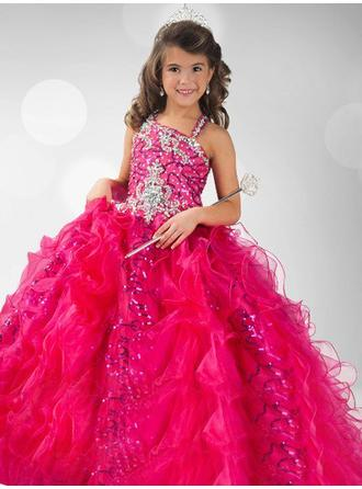 Ball Gown Straps Floor-length With Beading/Sequins Organza Flower Girl Dresses