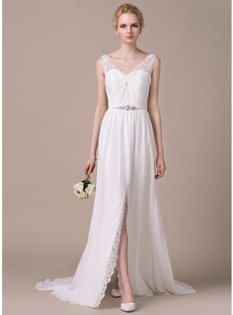 A-Line/Princess V-neck Sweep Train Chiffon Lace Wedding Dress With Ruffle Beading Sequins Split Front