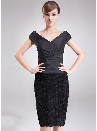 Sheath/Column Taffeta Lace Sleeveless Off-the-Shoulder Knee-Length Zipper Up Mother of the Bride Dresses