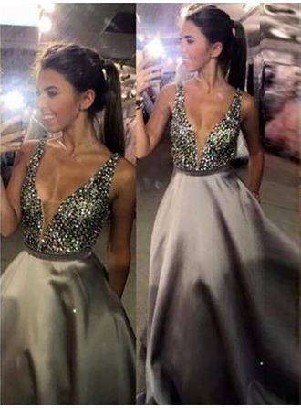 Satin Sleeveless A-Line/Princess Prom Dresses V-neck Sequins Sweep Train